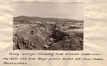 Caption: Young arroyo showing how erosion undermines the walls and how large pieces break off. Zuni Indian Reservation.