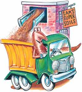 Drawing of soil being loaded into SK Worm's dump truck