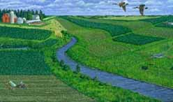 Painting of buffers on a farm and a stream with birds