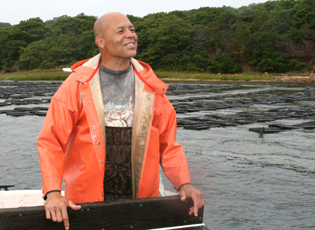 David Vanderhoop, Manager of the Wampanoag Aquinnah Shellfish Hatchery and a member of the Wampanoag Tribe of Gay Head (Aquinnah), on the island of Martha's Vineyard, Massachusetts.