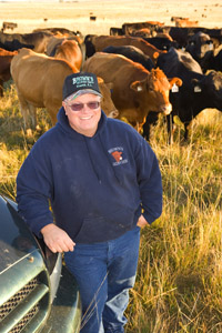 Gabe Brown with cattle