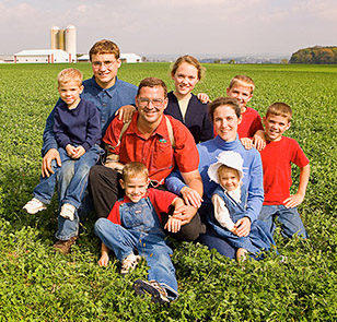 Stoller family in field
