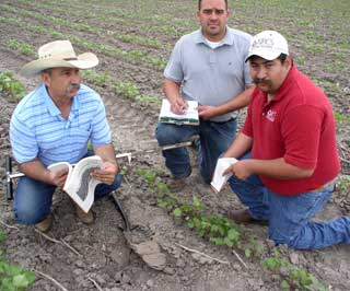 Danny Ramos (far right), Earth Team volunteer in San Benito NRCS Field Office, provides a wide array of volunteer assistance to Cameron County District Conservationist, Oz Longoria (left), and Gabe Cavazos, Conservationist Agronomist.