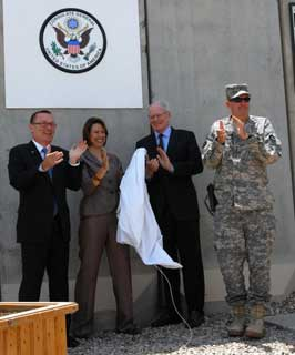 Major General Eddy Spurgin helps dedicate the newly established United States State Department Consulate General in Basra, Iraq with State Department officials.