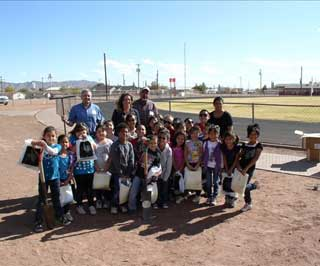 The Van Horn Elementary 1st grade class and teachers, along with Natural Resources Conservation Service employees Michael Margo and Gary Fuentes enjoy a day of soil education.