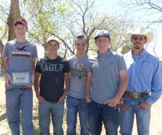 Follett High School FFA students win first place at the WAY contest in Area 1. (L to R) Dustin Sheperd (2nd high point individual), Chris Bechthold, Corey Peil, Dakota Woods (4th high point individual) and Follet�s Agriculture Teacher, Jim Self.