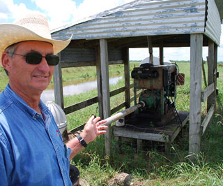 James Gentz says it can be costly to pump water onto fallow fields, however this water pumping station should be cost-efficient when flooding the more than 700 acres of fallow fields he enrolled into the USDA-NRCS Migratory Bird Habitat Initiative.