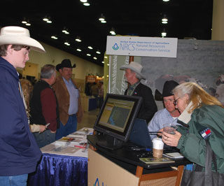 The Web Soil Survey drew large crowds throughout the two-day tradeshow. Attendees were able to work one-on-one with NRCS staff using computers to learn how to navigate through geographic areas of interest and access data such as interactive soil maps, soil properties and qualities, along with assessing suitability and limitation land uses.