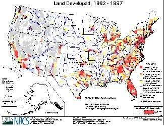 Land Developed, 1982-1997 - map