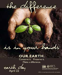 The difference is in your hands - Earth day April 22 -poster