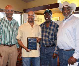 From left to right are: Charles Veal, TSFR/CBO Region 1 Chairperson; Willie Holman, NRCS Soil Conservationist, Bryan; Ollie Ross, TSFR/CBO Region 1 Vice-Chairperson and Wade Ross, TSFR/CBO State Coordinator.