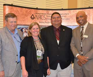 (Left to Right) Garry Stephens, Beverly Moseley, Kyle Williams, and Ronald Harris at the Intertribal Agriculture Council/Indian Nationals Conservation Alliance meeting.