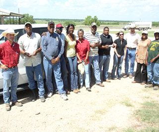100 Ranchers Organization members and Graham Land and Cattle employees gathered recently in Gonzales, Texas.