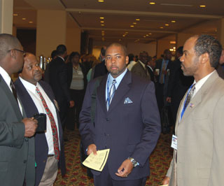 (left to right) Michael Brooks, NRCS district conservationist, Arlington; David Daniels, NRCS district conservationist, Angleton; Floyd Nauls, Jr., NRCS district conservationist, Madisonville; and Delwin Cannon, NRCS soil conservationist, Houston, attend the 2010 Joint Employee Organizations Training Conference.