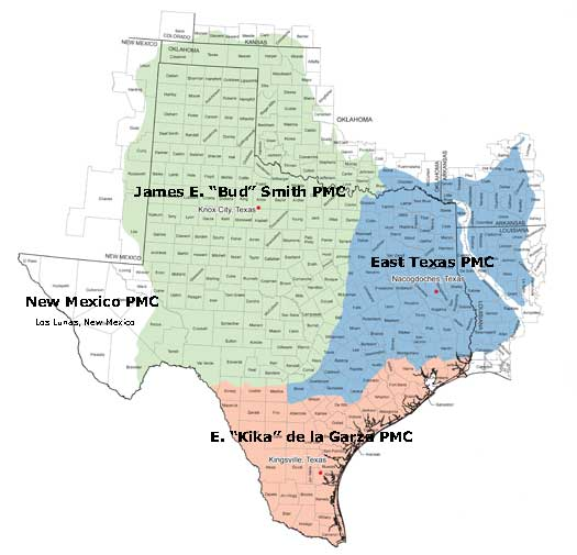 Texas map indicating the four plant material centers.