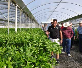 Ricky Becnel (front, left) leads the tour group through an insect free screened greenhouse.