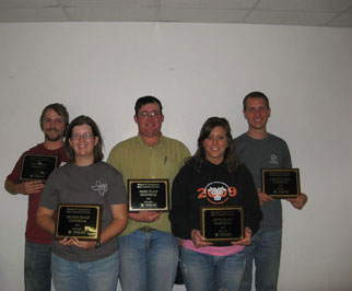 Individual award winners include (left to right): First place: Alden Smith, University of Arkansas-Fayetteville, second place: Stephanie Kulesza, University of Arkansas-Fayetteville, third place Austin Hudson, Oklahoma State University, fifth place: Jordan Gatlin, Oklahoma State University, and fourth place: Michael Kirch, University of Arkansas-Fayetteville.