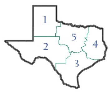 Map of Texas with CSP regions displayed.