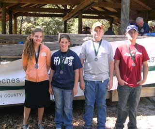 Silsbee Team 1 was the second place finisher with a score of 111. Team members were from left to right: Autumn Louviere, Beth Condrain, Thomas Burnett and Sean Johnson.