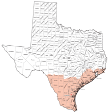 Texas map indicating Kingsville Plant coverage area.