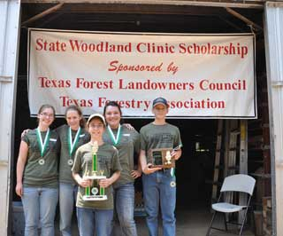The Central Heights #1 FFA team (left) placed first and the Jasper Helping Hands 4-H team (right) placed first in the annual State Woodland Clinic.