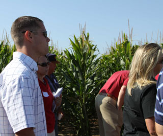 Demonstration plots on the tour included corn water use trials where they have measured the effect of reduced application as compared to full-season application.