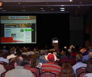 James Gordon, Assistant State Soil Scientist, giving Web Soil Survey presentation to attendees of the 18th Annual Texas On-Site Wastewater Treatment Research Council Conference, March 9, 2010, at the Mesquite Conference Center.