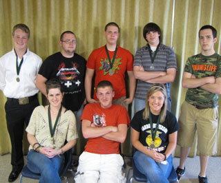 Students from Hardin-Jefferson FFA that placed in the Orange County Forestry contest. From left to right (front row) are Andrea Jones, Chad Tubbs, Kaley Sanford. From left to right (back row) are Dalton Horn, Lance Wright, Blake Tucker, Sean Ryan, Brandon Smith.