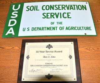 Ben Sims was honored for his 55 years of service on the Concho Soil and Water Conservation Board during the Texas State Soil and Water Conservation Board's annual meeting in San Antonio.
