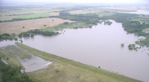 Aerial view of Richland Creek dam site No. 14