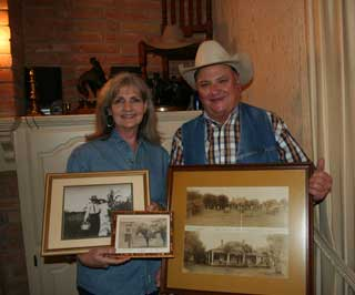 Charlotte Hellen and brother, Bill Hellen, hold historic family photos in front of their brother, James Christopher �Chris� Hellen�s bronze artwork on the mantel. Chris passed away in 2009.