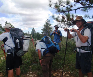 B.J. Shoup (Far left) and Clark Harshbarger (Far Right) Ready to Transect