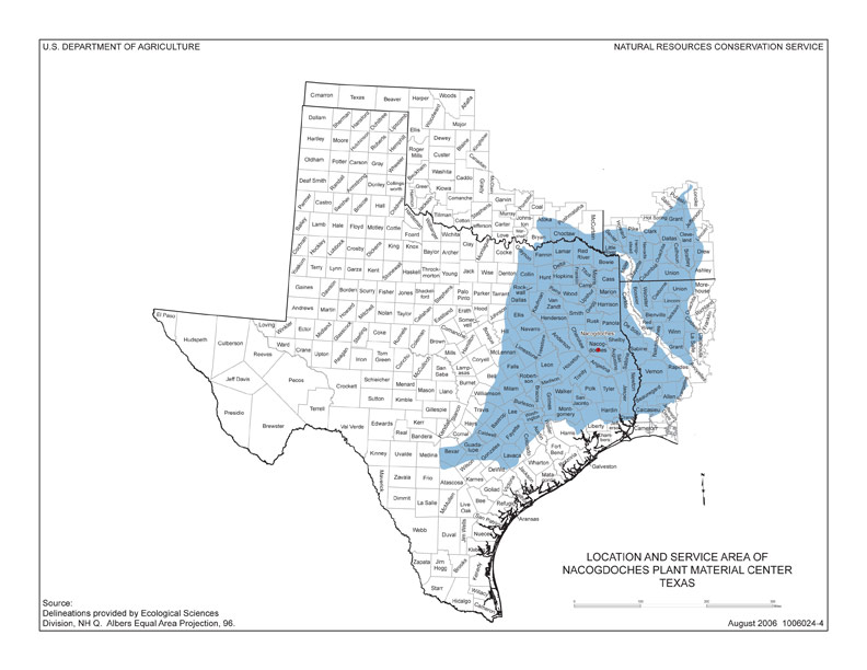 East Texas Plant Material Center Plant Collection Coverage Area - Map of east texas