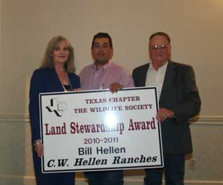 Jim Hogg District Conservationist, Erasmo Montemayor (center) worked with Charlotte Hellen and Bill Hellen on improving their rangeland and wildlife habitat that has helped improve cattle and wildlife production on the C.W. Hellen Ranches and helped earn the Texas Chapter Wildlife Society�s Land Stewardship Award.