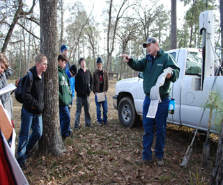 NRCS Soil Scientist, Dennis Brezina, provided the Boy Scouts with a hands-on demonstration using the NRCS hydraulic soil probe.