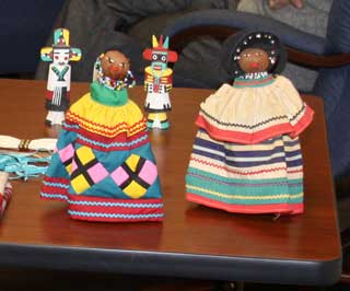 A special display of Native American garments, dolls, and accessories.