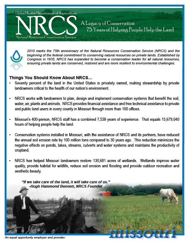 2010 NRCS in Missouri Fact Sheet
