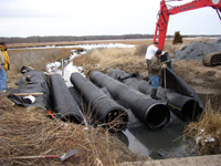 Construction of new culvert at Allens Pond Wildlife Sanctuary