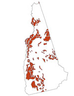 The spatial distribution of Marlow soils in New Hampshire