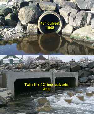 Comparison of the old and new culverts at Little River.