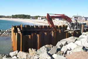 view of sheetpile needed to keep tide waters out during construction.