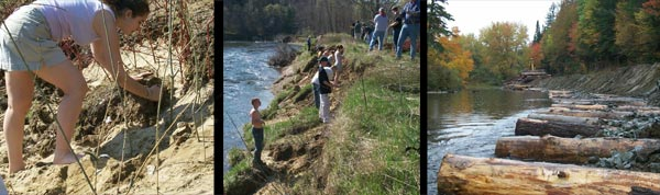 Streambank restoration activities that demonstrate multiple benefits.