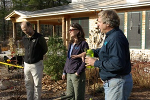 Michael Cline, Tin Mountain Executive Director, Deb Eddison, and Nels Liljedahl in front of plantings at the Tin Mountain Conservation Center