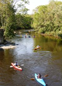 Canoeists and kayakers paddle down the Pawtuxet River