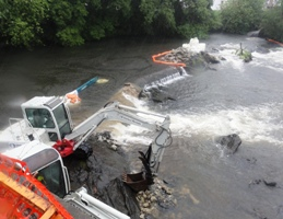 Excavators Removing Pawtuxet Falls Dam