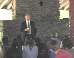 U.S. Senator Whitehouse speaks to students at the competition
