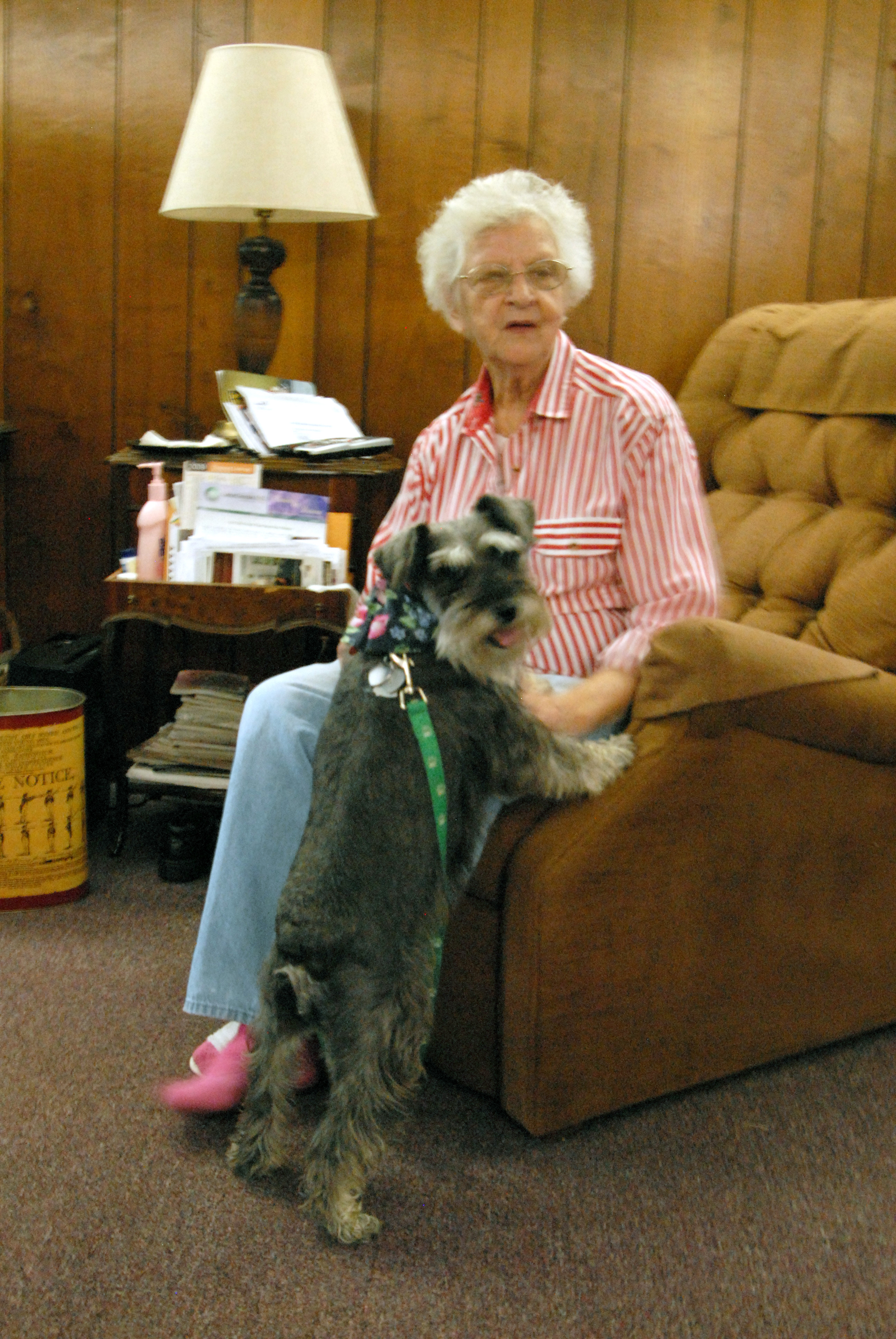 Gwendolyn Murphy with her Schnauzer