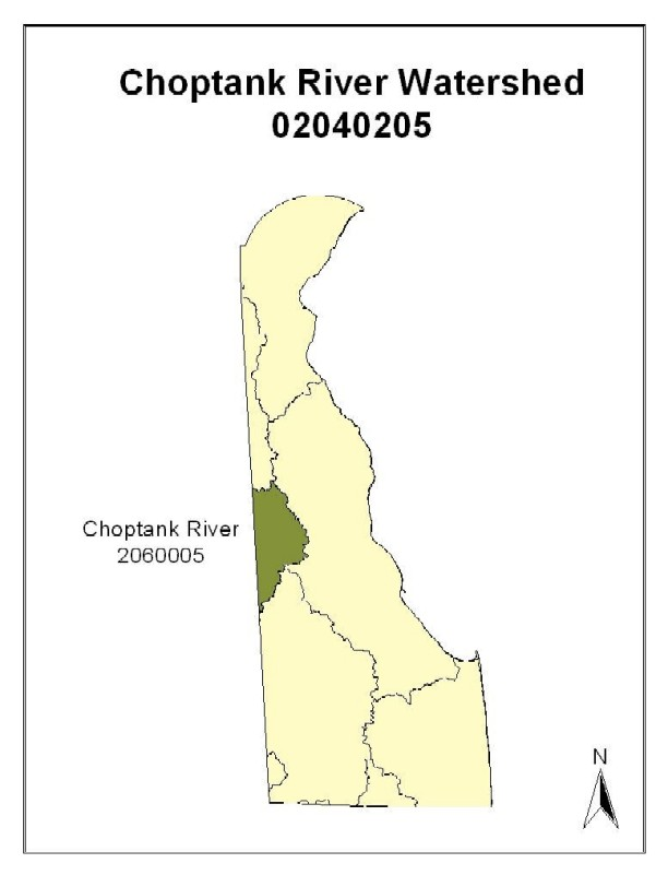Location map of Choptank River Watershed in Delaware