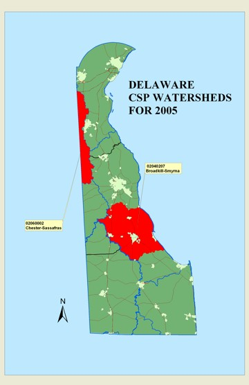 Map of the Chester-Sassafrass Watershed in the state of Delaware