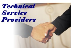 Web image: Photo of two people shaking hands. Text: Technical Service Providers